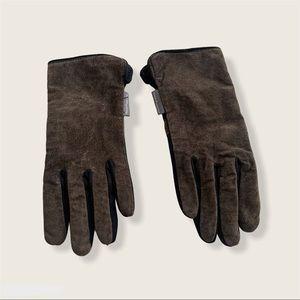 Hush Puppies Brown Suede Fleece Interior Gloves